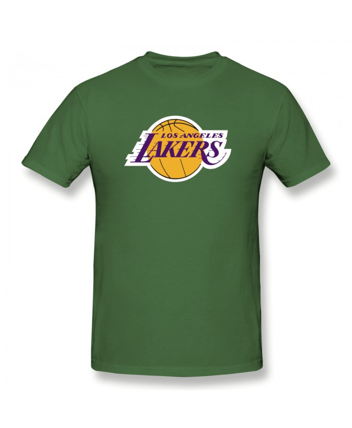Lakers Slippers Mens Men's Basic Short Sleeve T-Shirt Los Angeles Lakers LAL Moss Green